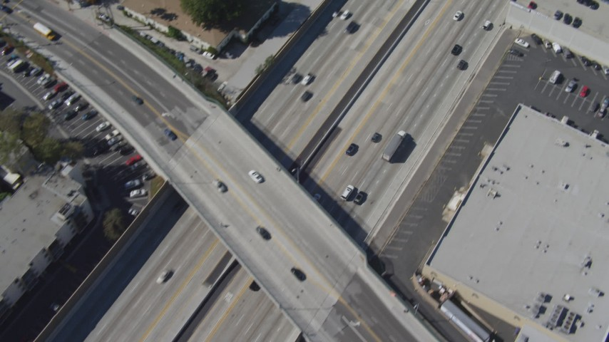 4K stock footage aerial video bird's eye view of light traffic on Interstate 405, Mar Vista, California Aerial Stock Footage | DCA06_064