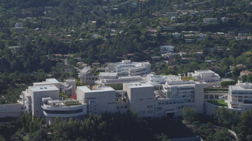 4K stock footage aerial video of flying by the J. Paul Getty Museum, Los Angeles, California Aerial Stock Footage | DCA06_069