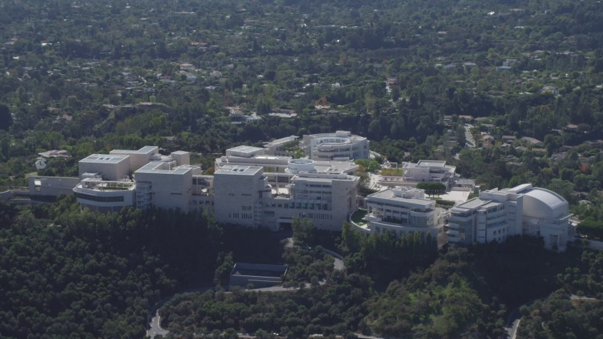 4K stock footage aerial video of flying by the J. Paul Getty Museum, Los Angeles, California Aerial Stock Footage | DCA06_070