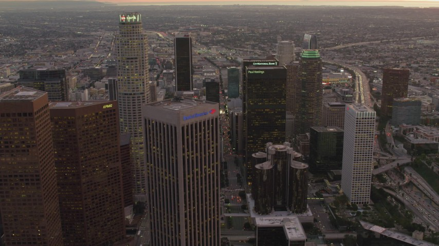 4K stock footage aerial video of flying by Downtown Los Angeles skyscrapers, California, sunset Aerial Stock Footage | DCA07_007