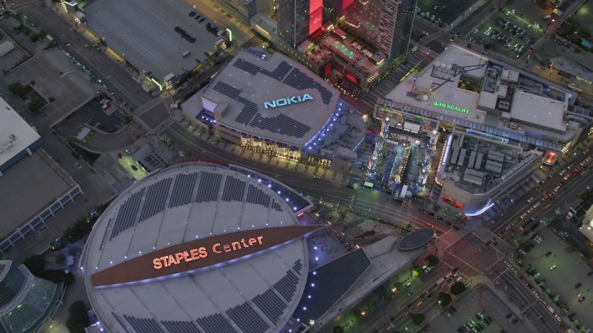4K aerial video of orbiting Staples Center, Nokia Theater and LA Live, Downtown Los Angeles, California, twilight Aerial Stock Footage | DCA07_018