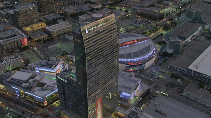 4K stock footage aerial video of orbiting The Ritz-Carlton, Downtown Los Angeles, California, twilight Aerial Stock Footage | DCA07_020