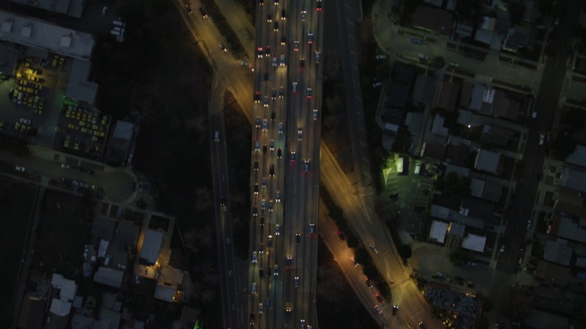 4K stock footage aerial video of bird's eye view flying over Highway 101, heavy traffic, Silverlake, California, night Aerial Stock Footage | DCA07_034