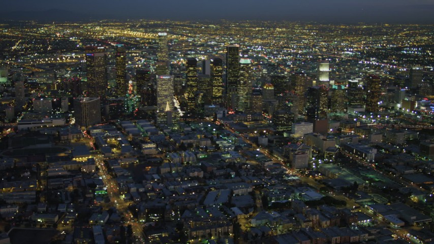 4K stock footage aerial video of approaching Downtown skyscrapers, Los Angeles, California, night Aerial Stock Footage | DCA07_036