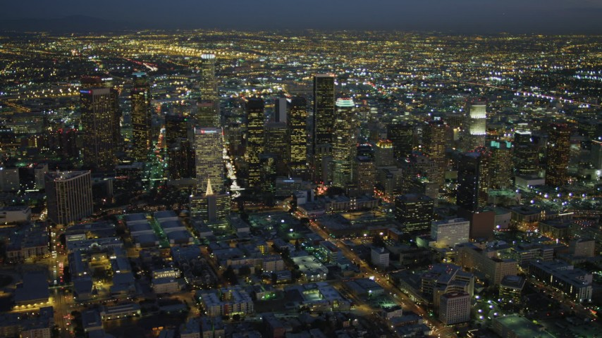 4K aerial video of approaching Downtown skyscrapers, Los Angeles, California, night Aerial Stock Footage | DCA07_037