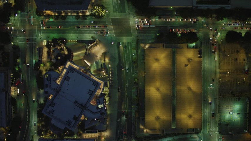4K stock footage aerial video of bird's eye view following South Grand Avenue, becomes North Grand Avenue, Downtown Los Angeles, California, night Aerial Stock Footage | DCA07_043