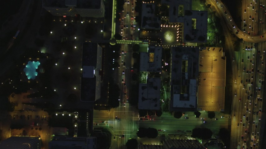 4K stock footage aerial video of bird's eye view following South Figueroa from West 2nd to West 3rd, Downtown, Los Angeles, California, night Aerial Stock Footage | DCA07_046