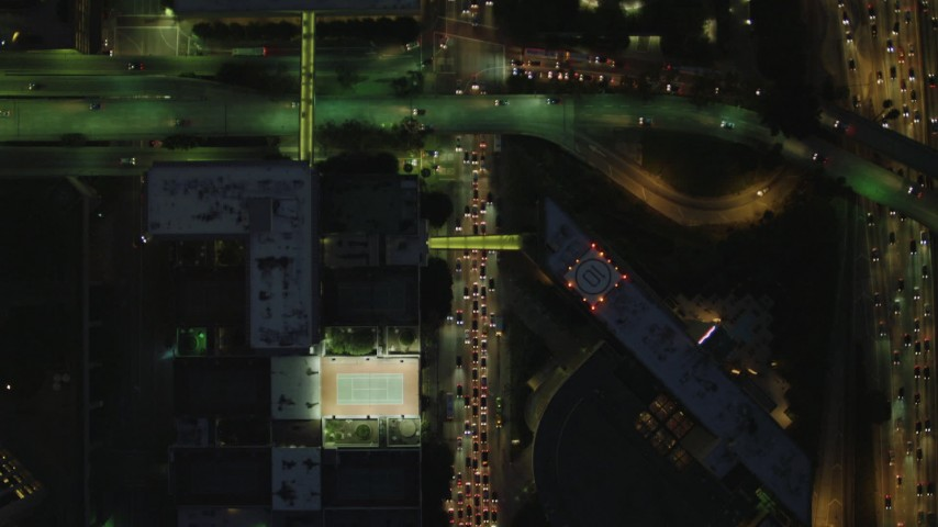 4K stock footage aerial video of bird's eye view following South Figueroa, Downtown, Los Angeles, California, night Aerial Stock Footage | DCA07_047