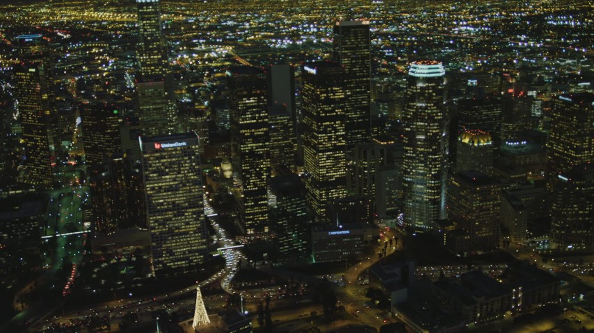 4K stock footage aerial video of flying by Downtown skyscrapers, Los Angeles, California, night Aerial Stock Footage | DCA07_056