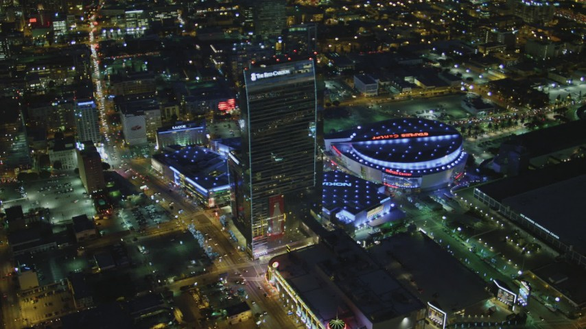 4K aerial video of flying by The Ritz-Carlton, Nokia Theater, Staples Center, Downtown Los Angeles, California, night Aerial Stock Footage | DCA07_057