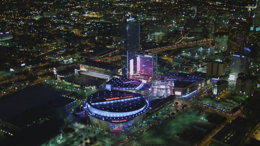 4K stock footage aerial video of orbiting The Ritz-Carlton, JW Marriott, LA Live, Nokia Theater, Staples Center, Downtown Los Angeles, California, night Aerial Stock Footage | DCA07_061