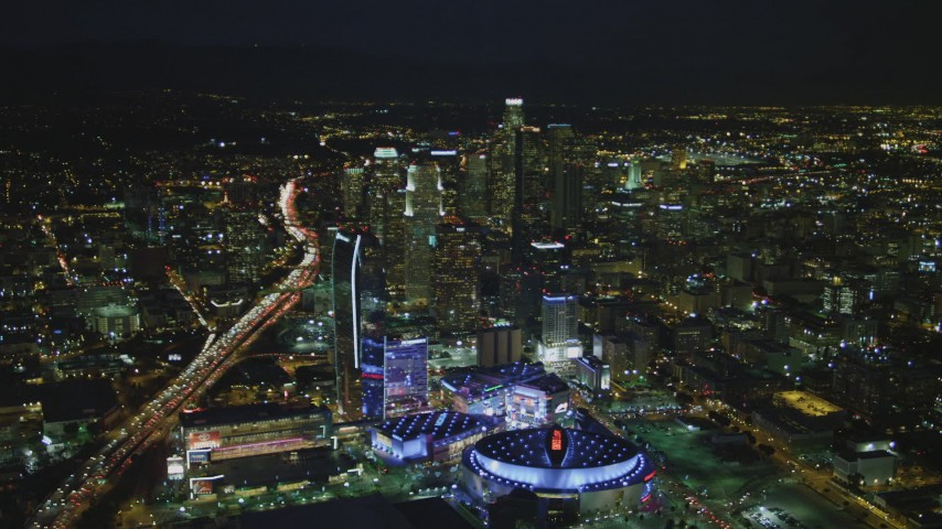 4K stock footage aerial video of Staples Center, The Ritz-Carlton, Nokia Theater, LA Live and skyscrapers, Downtown Los Angeles, California, night Aerial Stock Footage | DCA07_063