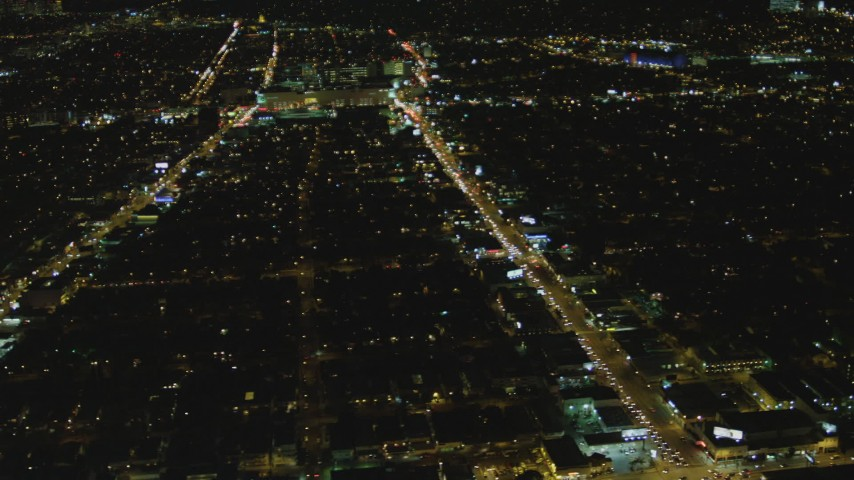 4K stock footage aerial video of flying by Beverly Center, Beverly Hills, California, night Aerial Stock Footage | DCA07_080