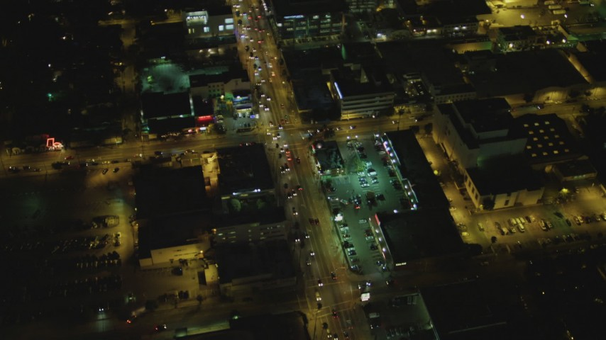 4K aerial video of Sunset Boulevard from North Gower to Gordon Street, Hollywood, California, night Aerial Stock Footage | DCA07_085