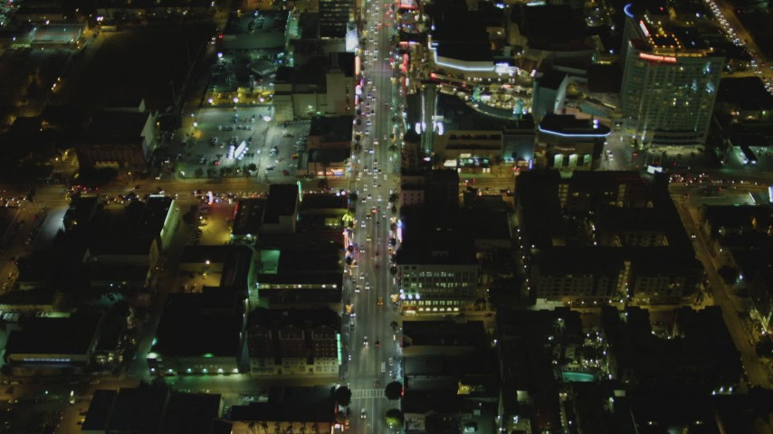 4K stock footage aerial video of Hollywood Blvd, reveal Hollywood and Highland Center, Hollywood, California, night Aerial Stock Footage | DCA07_089