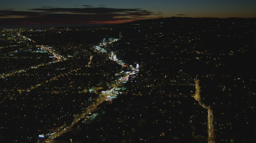 4K stock footage aerial video of approaching Sunset Blvd and Sunset Strip, West Hollywood, California, night Aerial Stock Footage   DCA07_091