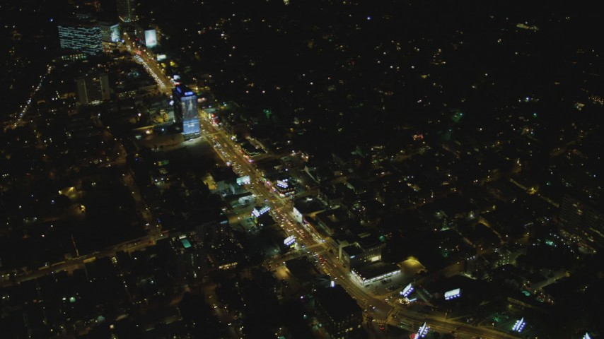 4K stock footage aerial video of flying by the Sunset Strip, West Hollywood, California, night Aerial Stock Footage   DCA07_096