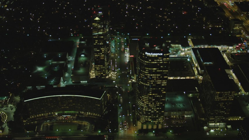 4K stock footage aerial video of approaching skyscrapers, Century City, California, night Aerial Stock Footage | DCA07_099