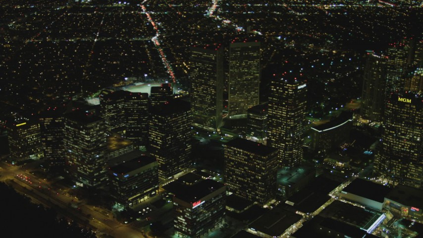 4K stock footage aerial video of flying by skyscrapers, Century City, California, night Aerial Stock Footage | DCA07_102