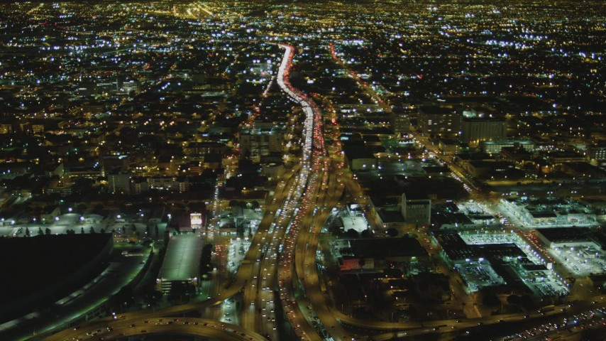 4K stock footage aerial video of following Interstate 10 through Downtown Los Angeles, California, night Aerial Stock Footage | DCA07_111