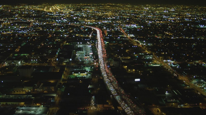 4K stock footage aerial video of approaching Interstate 10, Downtown, Los Angeles, California, night Aerial Stock Footage | DCA07_113
