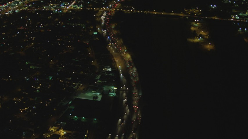 4K stock footage aerial video of a reverse view of Interstate 710, Lynwood, California, night Aerial Stock Footage | DCA07_118