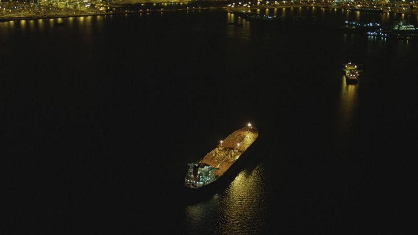 4K stock footage aerial video of on oil tanker near Port of Long Beach, California, night Aerial Stock Footage | DCA07_146