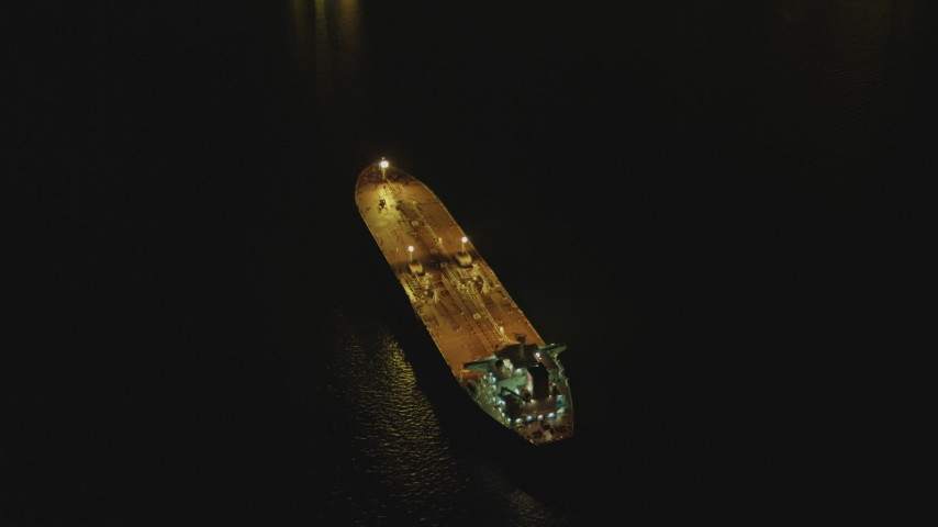 4K stock footage aerial video of orbiting an oil tanker sailing near Port of Long Beach, California, night Aerial Stock Footage DCA07_147 | Axiom Images