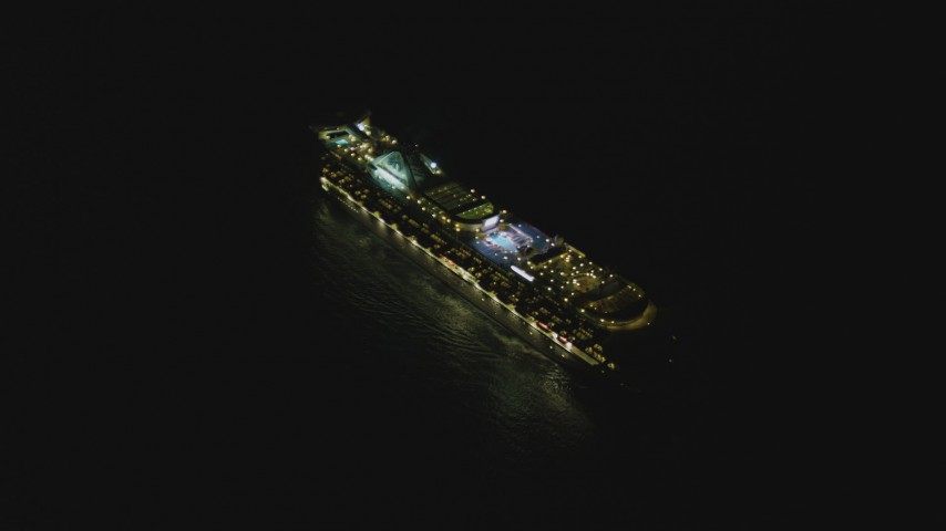 4K stock footage aerial video of a cruise ship sailing near the Port of Los Angeles, San Pedro, California, night Aerial Stock Footage | DCA07_155