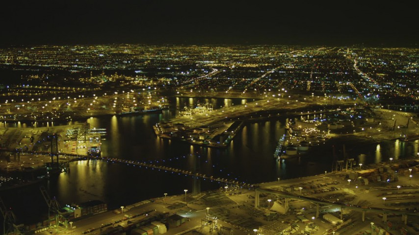 4K stock footage aerial video of the Port of Los Angeles, Vincent Thomas Bridge, San Pedro, California, night Aerial Stock Footage | DCA07_162