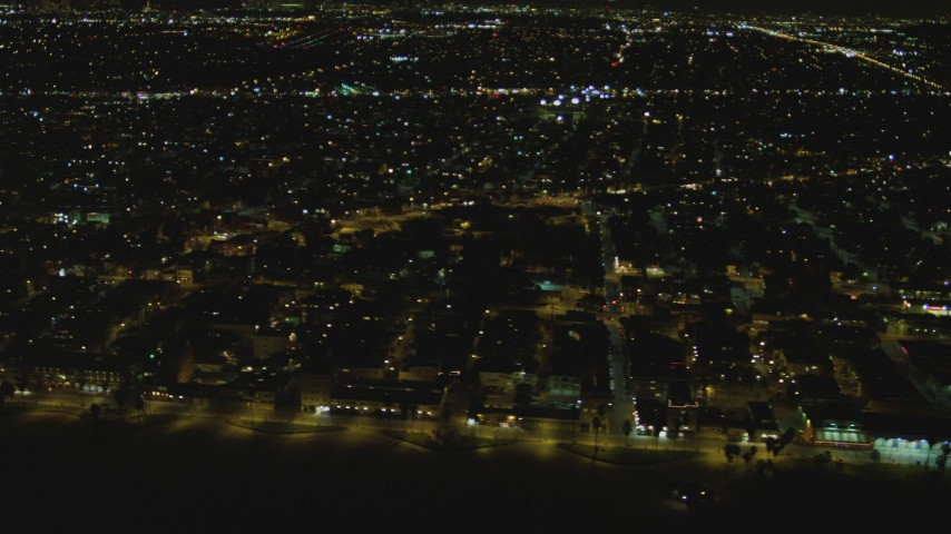 Flying by residential neighborhood, Venice, California, night Aerial Stock Footage | DCA07_169