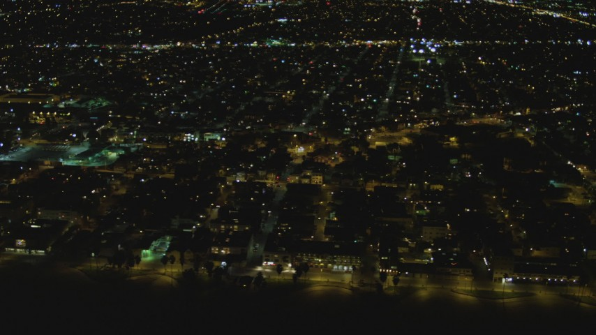 4K stock footage aerial video of flying by residential neighborhood, Venice, California, night Aerial Stock Footage | DCA07_169