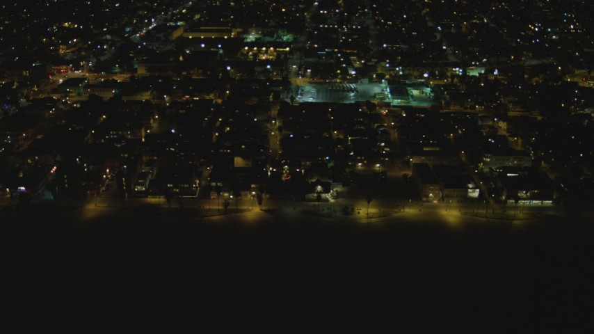 4K aerial video of flying by residential neighborhood, Venice, California, night Aerial Stock Footage | DCA07_170