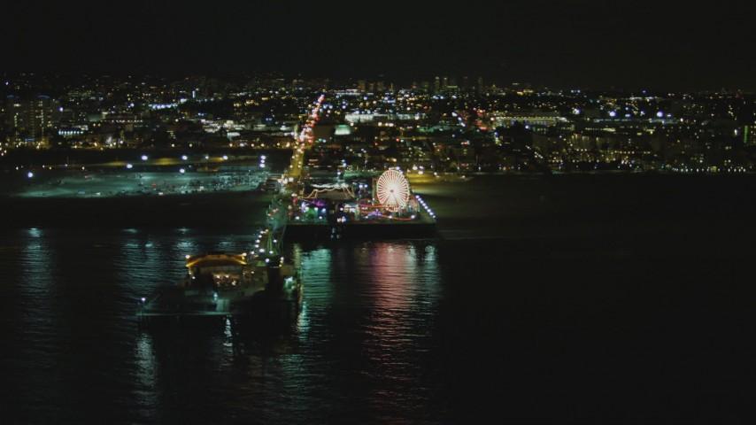 Flying by the Santa Monica Pier, Santa Monica, California, night Aerial Stock Footage   DCA07_173
