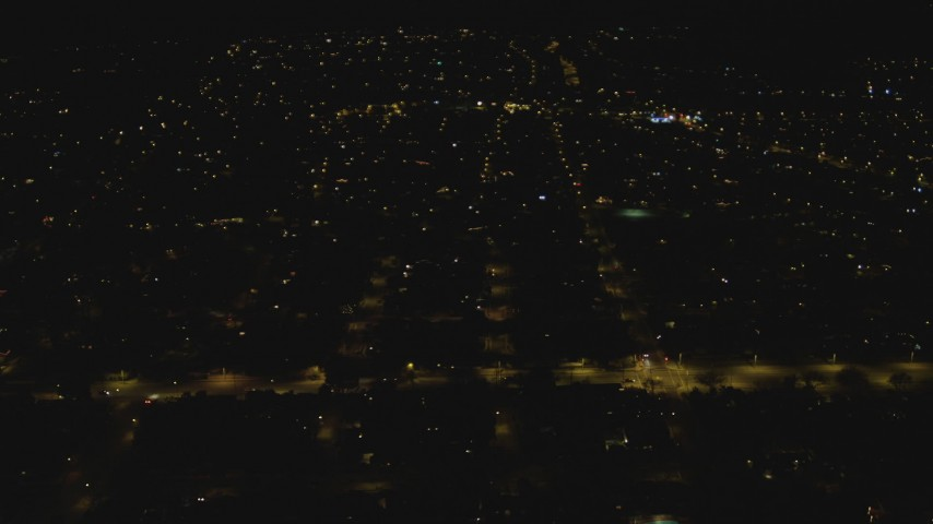 4K stock footage aerial video of flying over suburbs, Woodland Hills, California, night Aerial Stock Footage | DCA07_183
