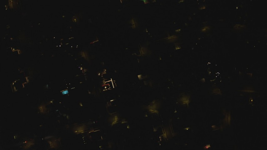 4K stock footage aerial video bird's eye view above a residential neighborhood, Woodland Hills, California, night Aerial Stock Footage | DCA07_186