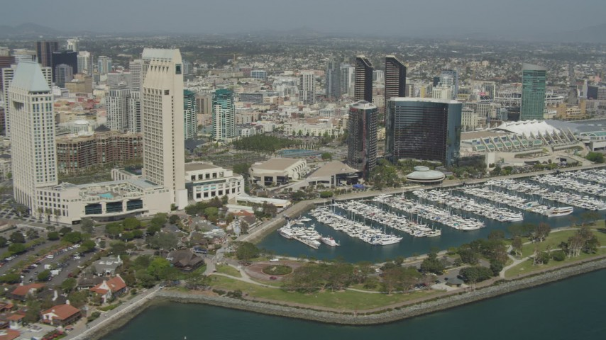 4K aerial video of waterfront hotels and marina, Downtown San Diego, California Aerial Stock Footage | DCA08_014