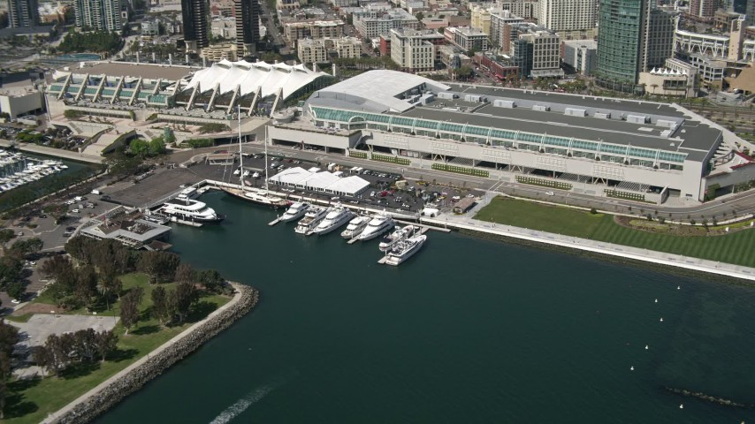 4K aerial video of yachts by the convention center in Downtown San Diego, California Aerial Stock Footage | DCA08_015