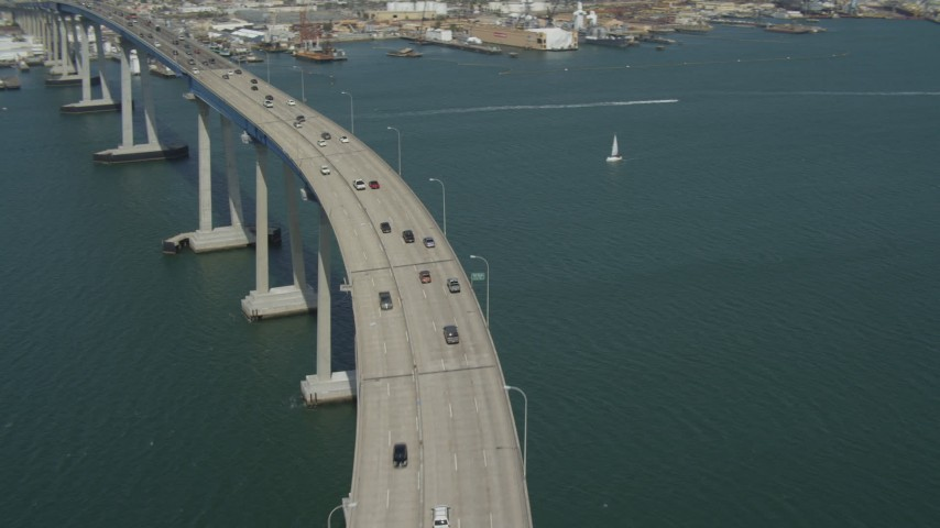 4K stock footage aerial video approach and orbit traffic on the Coronado Bridge, San Diego, California Aerial Stock Footage | DCA08_021