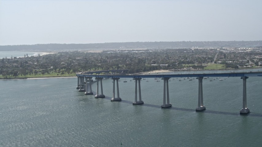 4K stock footage aerial video of a reverse view of the Coronado Bridge in San Diego, California Aerial Stock Footage | DCA08_023