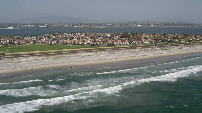 4K aerial stock footage video of seaside homes and beach, Coronado, California Aerial Stock Footage | DCA08_029