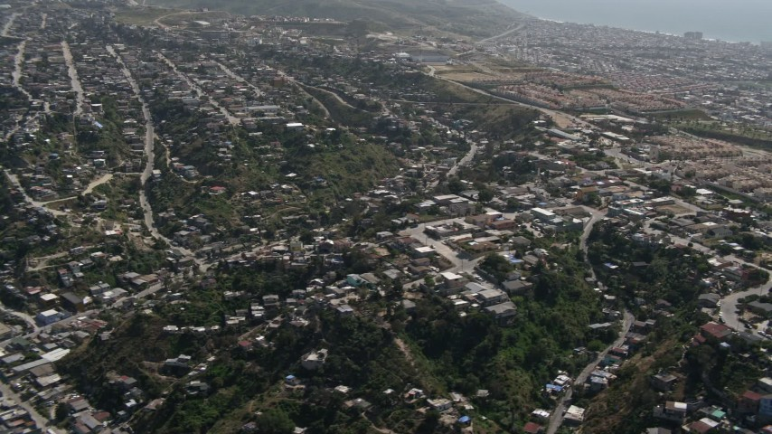 4K stock footage aerial video flyby urban residential neighborhoods in Tijuana, Mexico Aerial Stock Footage | DCA08_044