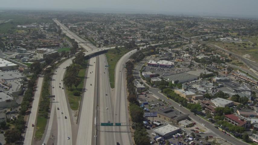 Fly Over Heavy Border Checkpoint Traffic USMexico Border Tijuana