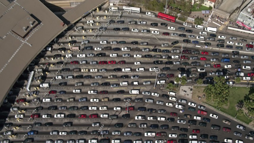4K aerial video of a bird's eye view of heavy checkpoint traffic, US/Mexico Border, Tijuana Aerial Stock Footage | DCA08_064