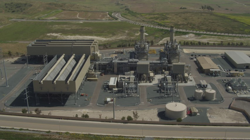 4K aerial video of circling a power plant in Otay Mesa, California Aerial Stock Footage | DCA08_098
