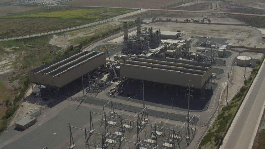 4K aerial video of an orbit around a power plant in Otay Mesa, California Aerial Stock Footage | DCA08_099