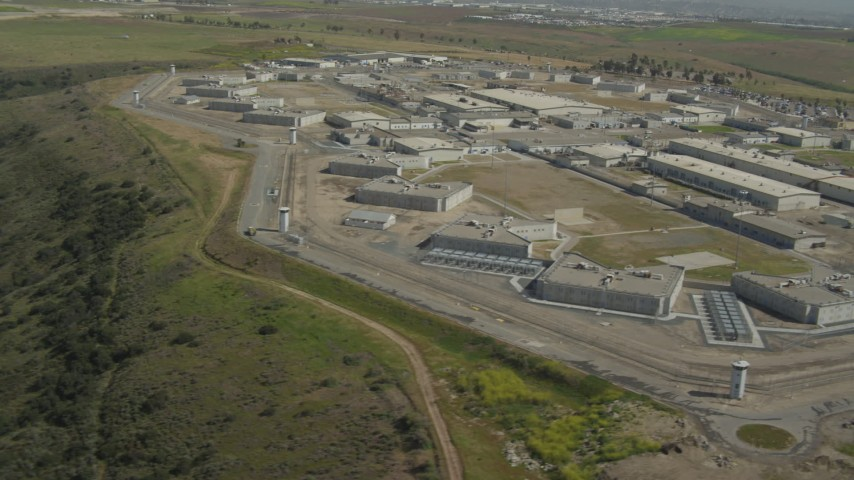 4K stock footage aerial video of prison complex buildings, Otay Mesa, California Aerial Stock Footage | DCA08_106