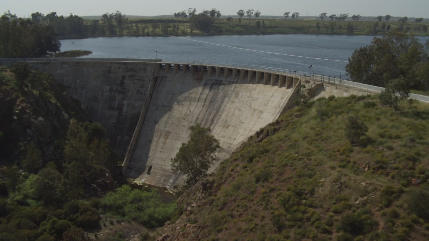 4K stock footage aerial video orbit and approach the dam on Lower Otay Lake, California Aerial Stock Footage | DCA08_110