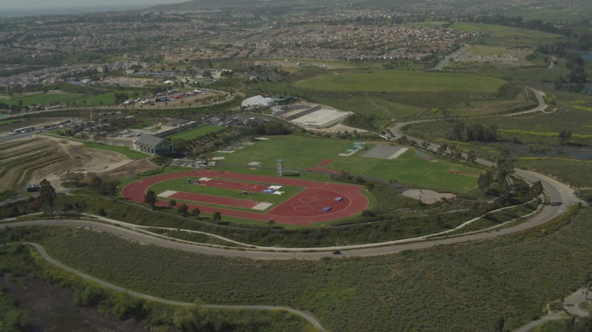 4K aerial video approach Olympic training fields, Chula Vista, California Aerial Stock Footage | DCA08_112