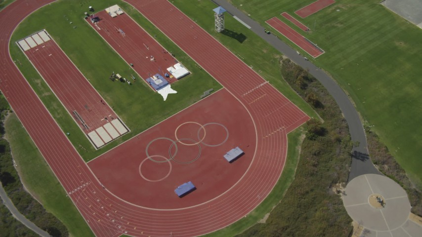 4K aerial video of tilting to a bird's eye of an Olympic training fields, Chula Vista, California Aerial Stock Footage | DCA08_113